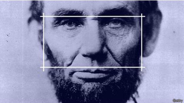 Abraham Lincoln con la proporción ancho-alto del rostro dibujada