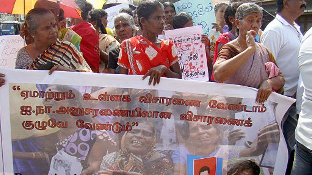 Tamils in Sri Lanka hold demontrations demanding international probe into war crimes