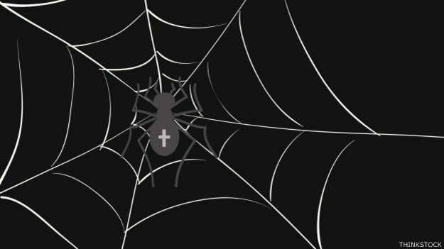Ilustración de una tela de araña sobre fondo oscuro