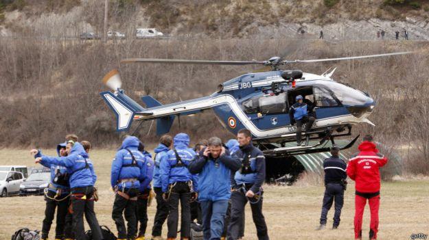 Helicóptero en sitio del accidente