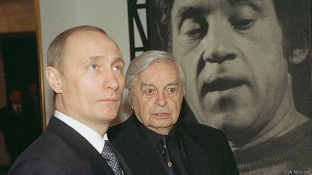 Путин и Любимов на юбилее Выскоцкого