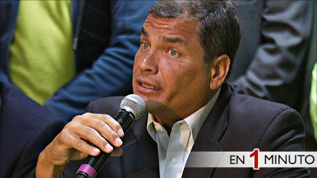 El presidente de Ecuador, Rafael Correa en rueda de prensa tras conocerse los resultados elctorales