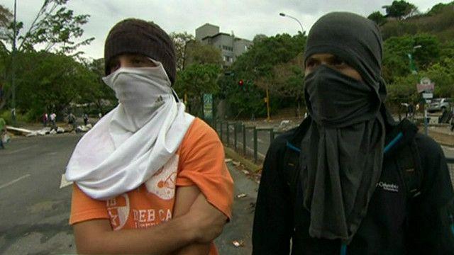 Manifestante de la oposición en Caracas, Venezuela