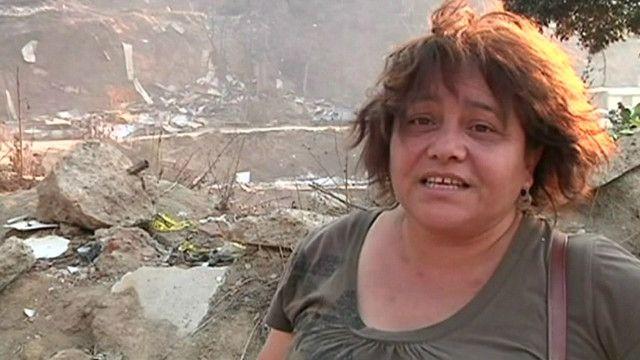 Damnificada por el incendio en Valparaíso, Chile