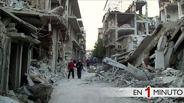Calle destruida por la guerra en Homs