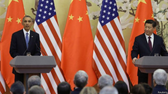 中国国家主席习近平星期三与美国总统奥巴马结束会谈后举行联合记者会
