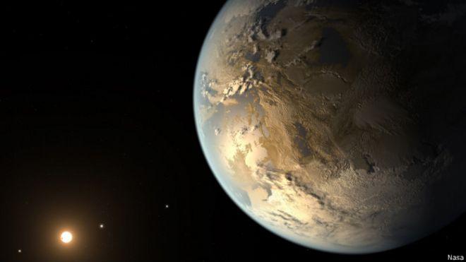 Representação artística de como poderia ser um planeta habitável e semelhante à Terra (Nasa)