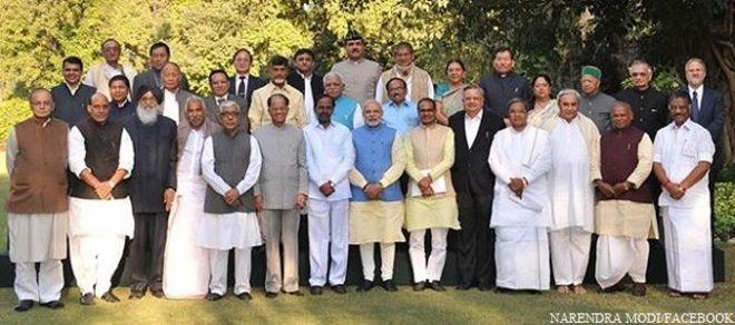 भारत संघ के राज्यों के मुख्यमंत्री प्रधानमंत्री नरेंद्र मोदी के साथ.