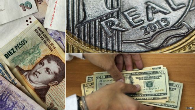 Montaje de monedas y billetes