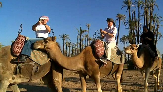 BBC team trying to connect to the Internet in the middle of a desert in Morocco.