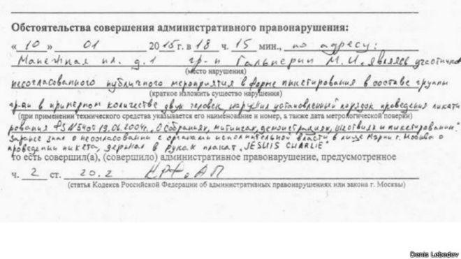 Протокол о задержании Гальперина