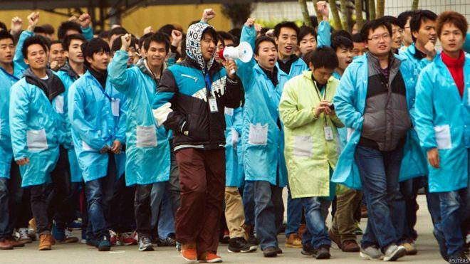 民间组织统计称中国2014年罢工事件总数同比增长超过一倍。