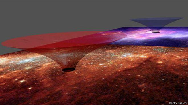Buraco de minhoca na Via Láctea (Imagem: Paolo Salucci)