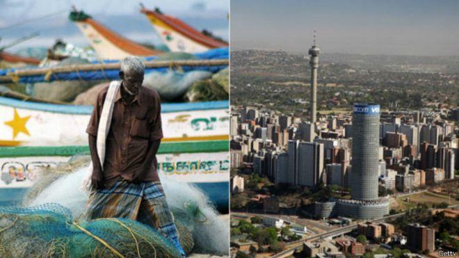 Una imagen de Chennai y otra de Johanesburgo