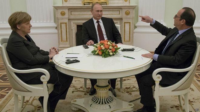 Ангела Меркель, Владимир Путин, Франсуа Олланд в Кремле