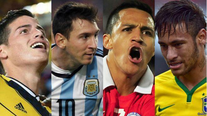 James, Messi, Alexis y Neymar