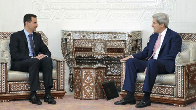 Башар Асад и Джон Керри