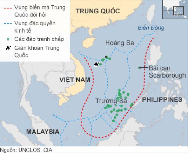 Bản đồ vùng Biển Đông có tranh chấp
