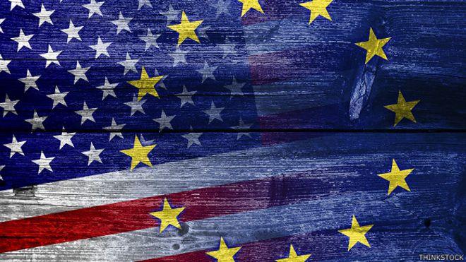 Banderas de EE.UU. y EU