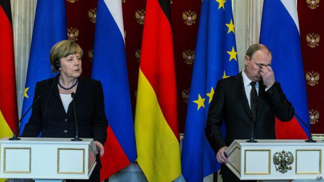Меркель и Путин на пресс-конференции