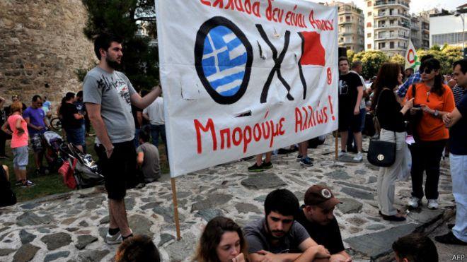 Manifestantes a favor del No en Grecia