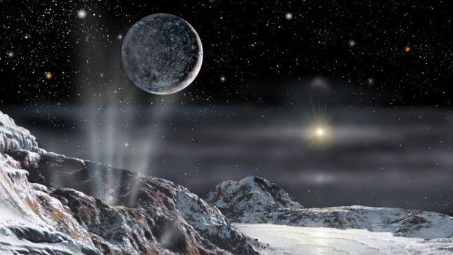 Ilustración de Plutón y su luna Caronte
