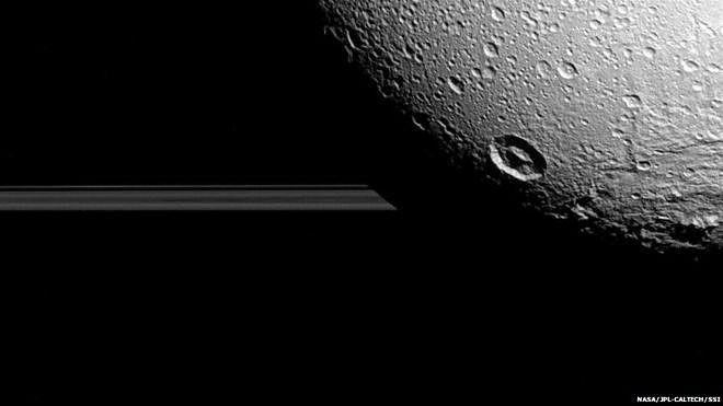 Ảnh do phi thuyền Cassini chụp mặt trăng của Sao Thổ, Dione