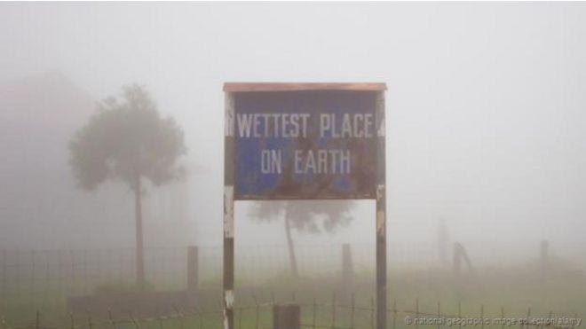 """Un cartel de """"el lugar más húmedo del mundo"""""""
