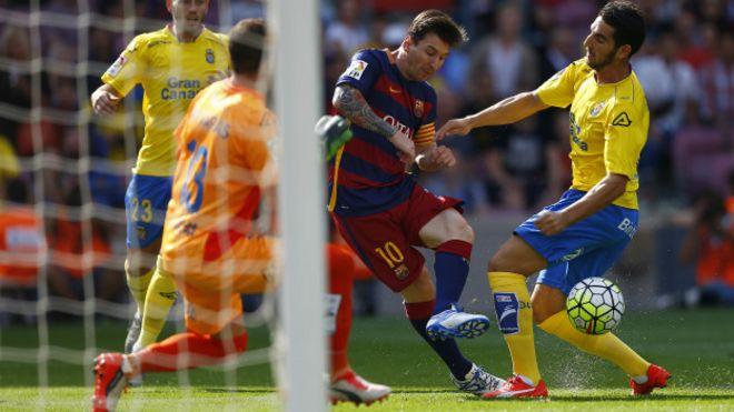 Messi, durante el partido contra Las Palmas