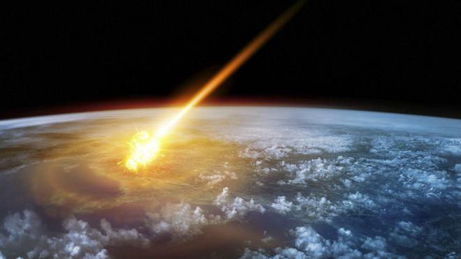 Ilustración del impacto de un asteroide en la Tierra