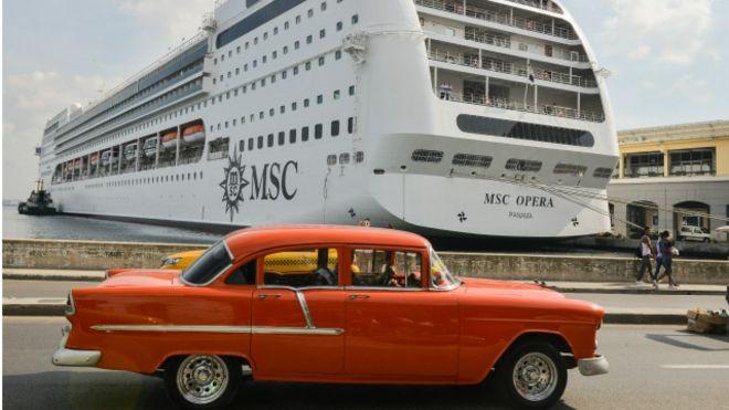Un barco de crucero en La Habana