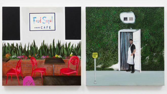Dos imágenes. En una, un restaurante costoso en la ciudad de Los Ángeles y en en la otra, uno de sus trabajadores saliendo por la puerta de servicio en la parte trasera