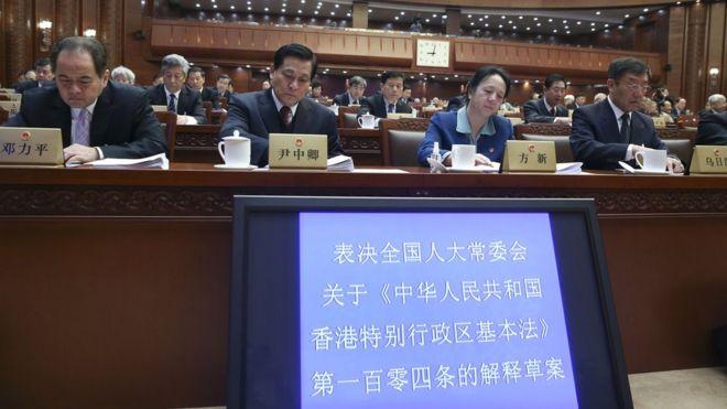 中国全国人大常委会在北京表决香港释法案(新华社图片7/11/2016)
