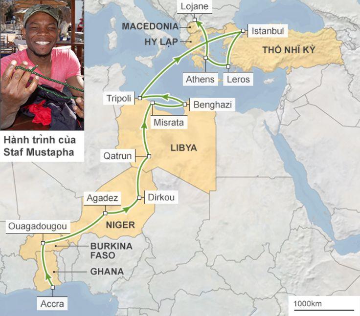 Chặng đường Staf Mustapha đã đi qua để tới châu Âu
