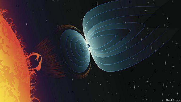 Recreación del campo magnético de la Tierra