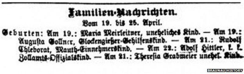 Registro de nacimiento de Hitler