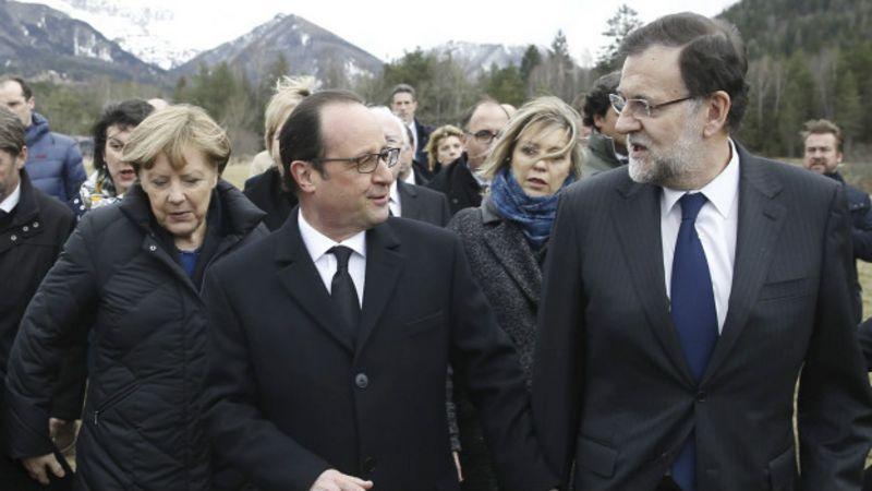 Merkel, Hollande y Rajoy