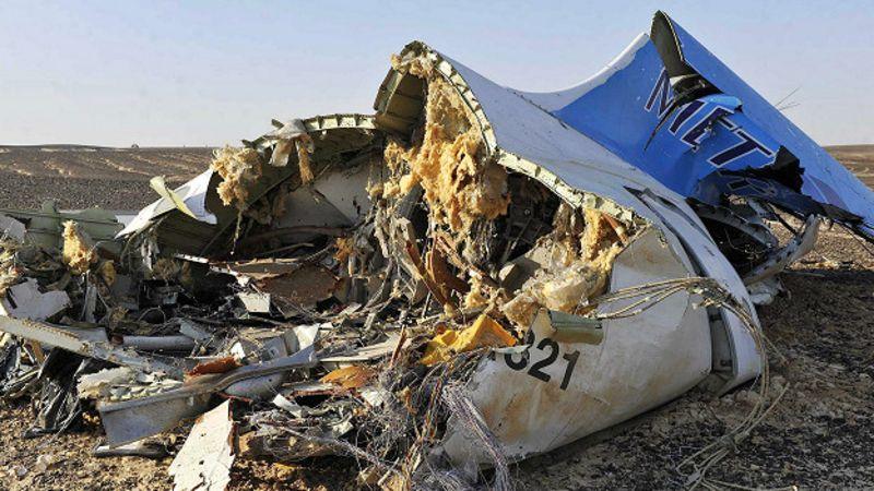 El avión quedó partido