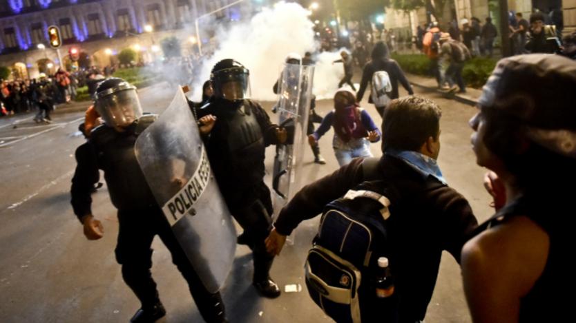 Protestas en el Zócalo de Ciudad de México por desaparición de estudiantes. Foto: AFP/Getty