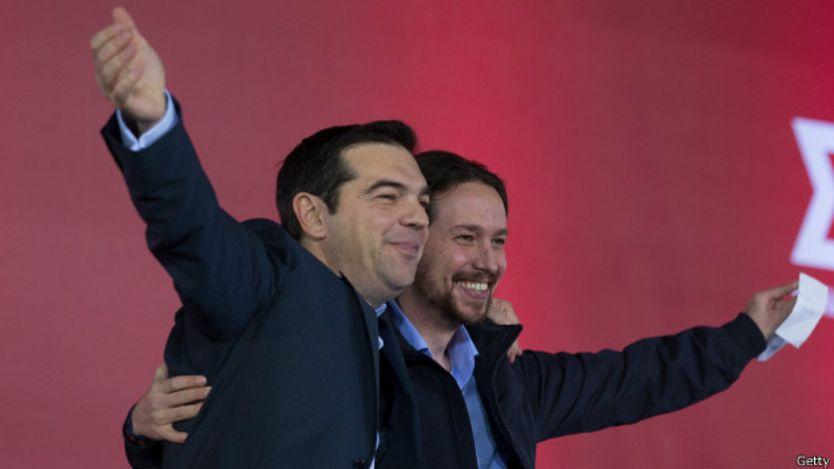 Pablo Iglesias (derecha) y Tsipras (izquierda).