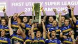 Leeds Rhinos with Super League trophy