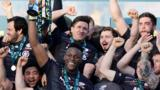 Saracens celebrate their 2015 Anglo-Welsh Cup final  win over Exeter