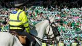 A police horse on the Hampden pitch
