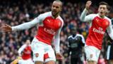 Theo Walcott of Arsenal celebrates