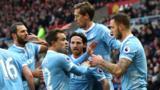 Stoke's players celebrate after scoring away to Sunderland