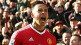 Manchester United winger Memphis Depay celebrates scoring a goal