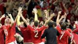 Wales players celebrate after victory over Belgium in the Euro 2016 quarter-finals