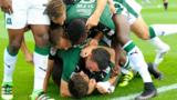 Plymouth Argyle celebrate a goal at Exeter City