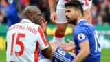 Stoke defender Bruno Martins Indi had a busy afternoon in the company of Chelsea striker Diego Costa