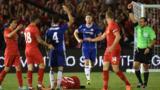 Cesc Fabregas sent off against Liverpool